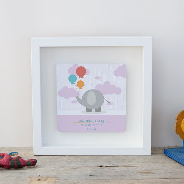 Gift for new baby - cute elephant box fram - pink style white framee