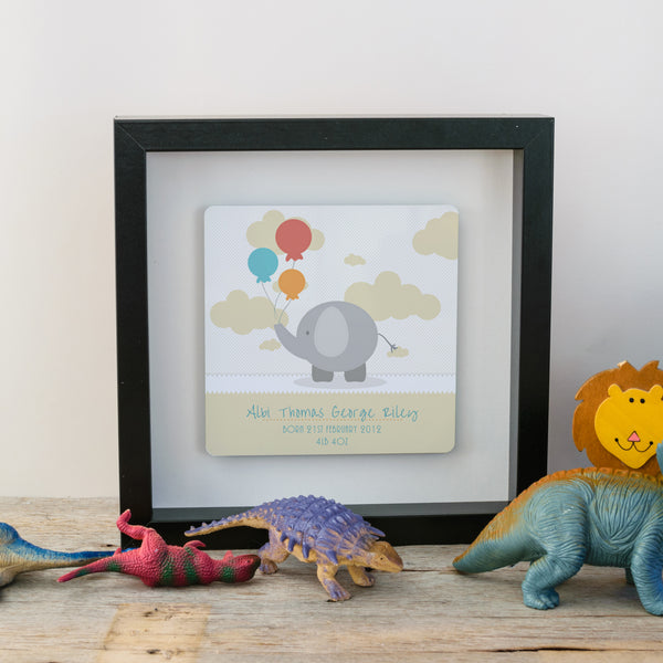 Gift for new baby - cute elephant box frame - yellow style black frame