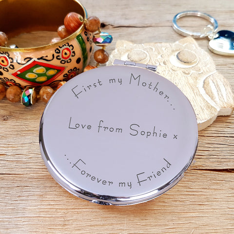 Engraved Round Compact Mirror - Your Own Message