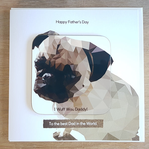Pug Personalised Father's Day Greeting Card Coaster Gift - Detail