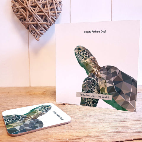 Turtley Amazing Dad Personalised Father's Day Greeting Card Coaster Gift