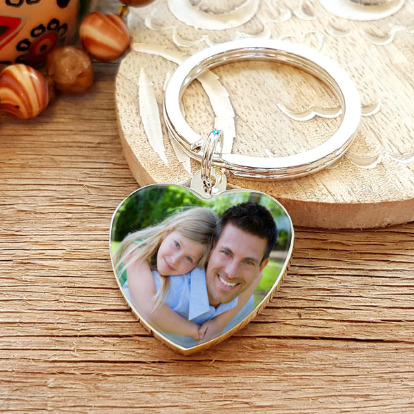 Father's Day Gift Photo Upload Heart Shaped Keyring with Engraved Reverse - colour photo