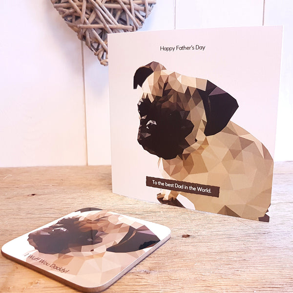 Pug Personalised Greeting Card Father's Day Coaster Gift