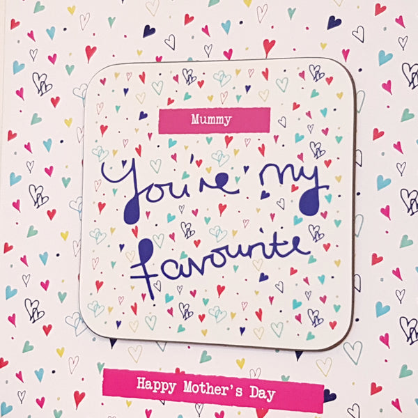 """You're my favourite"" Personalised Greeting Card Coaster"