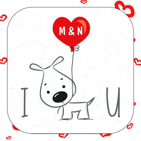 I Wuff You Personalised Valentine's Day Coaster Card - Coaster detail