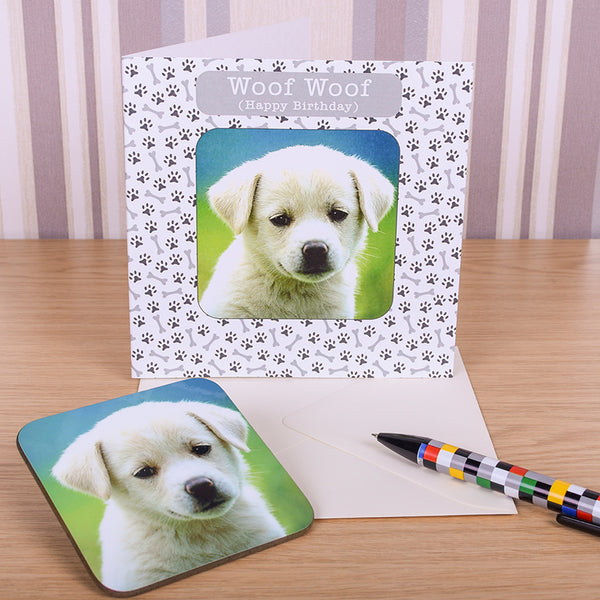 Woof Woof Pet Dog Coaster Card