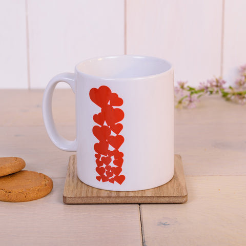 Red hearts - single line - personalised Valentine's mug