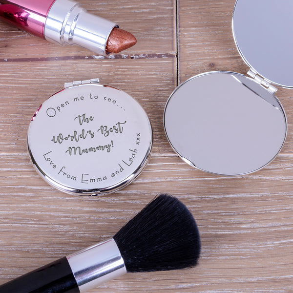 "Engraved Round Compact Mirror - ""Open me to see... the world's best mummy"" mother's day gift image 2"