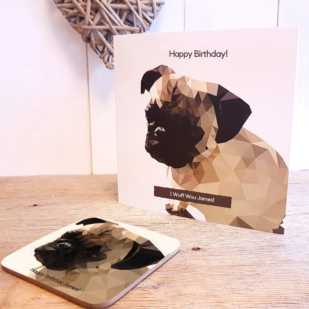 Pug Personalised Greeting Card Coaster Gift with Birthday Message