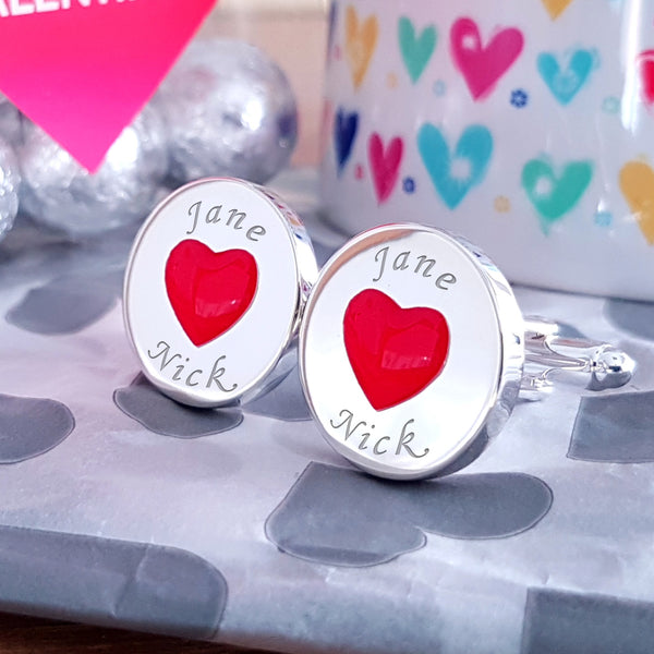 Love Hearts engraved Cufflinks - Personalised Valentines Gifts for him