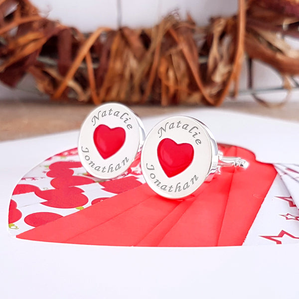Love Hearts engraved Cufflinks - Personalised Valentines Gifts for him - Image 2