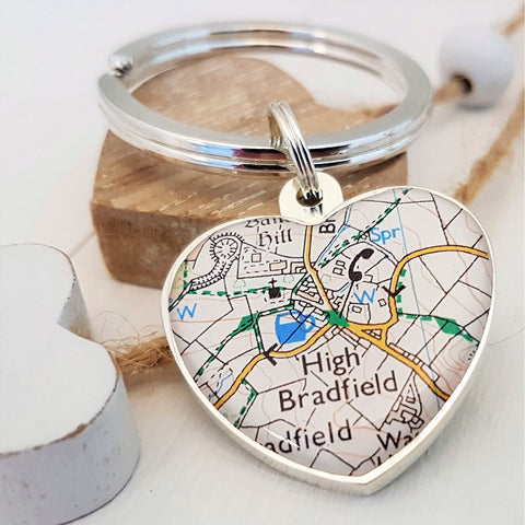 Special Place Map Keyring - Engraved on reverse. Map gift for all occasions