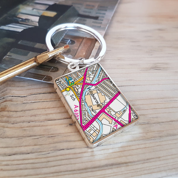 Football Stadium Map Keyring gift for football fan - Hillsborough