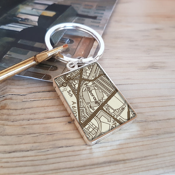 Gifts for football fans - Football Stadium Map Keyring - Hillsborough