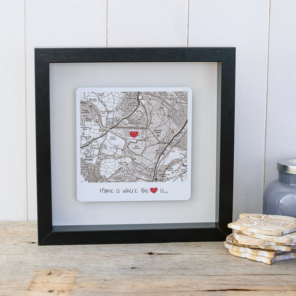 Home is where the heart is personalised map box frame. Wall art gift for the home - Vintage Style Black frame