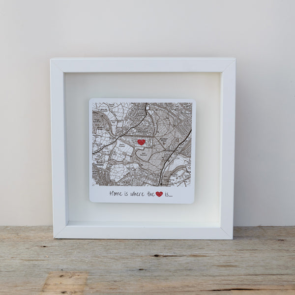 Home is where the heart is personalised map box frame. Wall art gift for the home - Vintage Style white frame