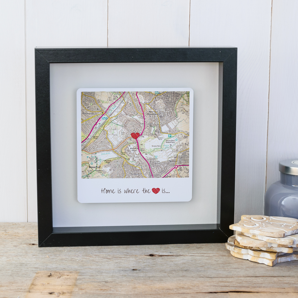 Home is where the heart is personalised map box frame. Wall art gift for the home - black frame