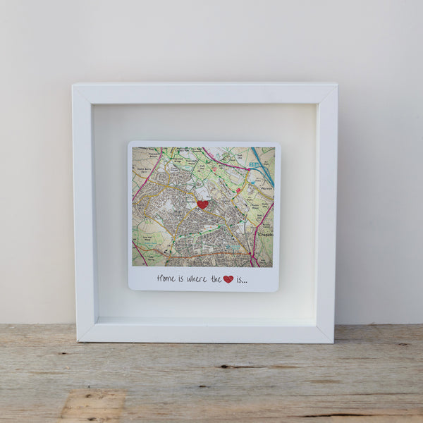 Home is where the heart is personalised map box frame. Wall art gift for the home - white frame