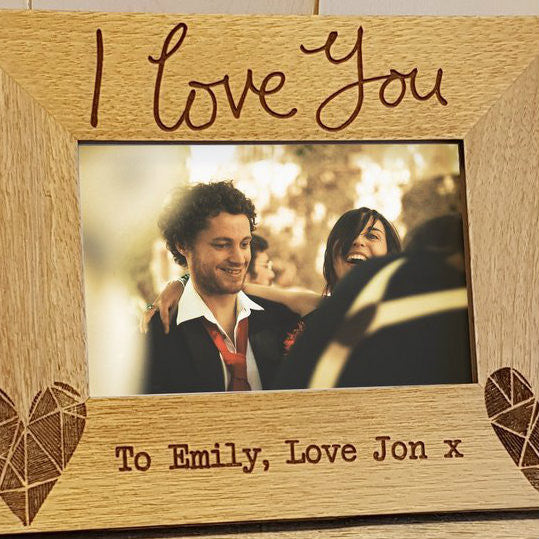 "Vicky Yorke Bright Hearts ""I Love You"" Geometric Wooden Photo Frame"