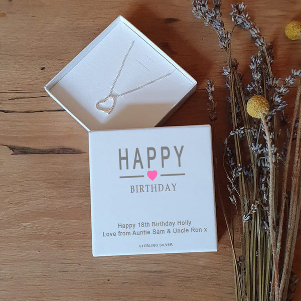 Happy Birthday Sterling Silver Heart Pendant and Chain