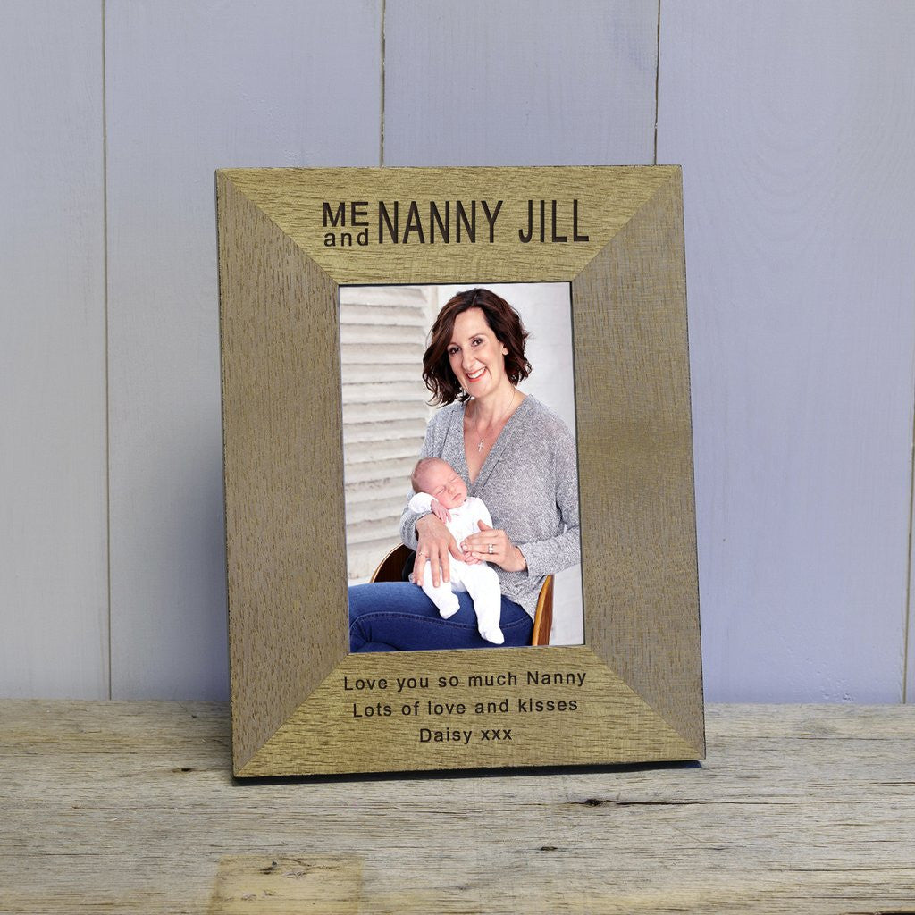 Me and Nanny Jill Engraved wooden photograph frame gift