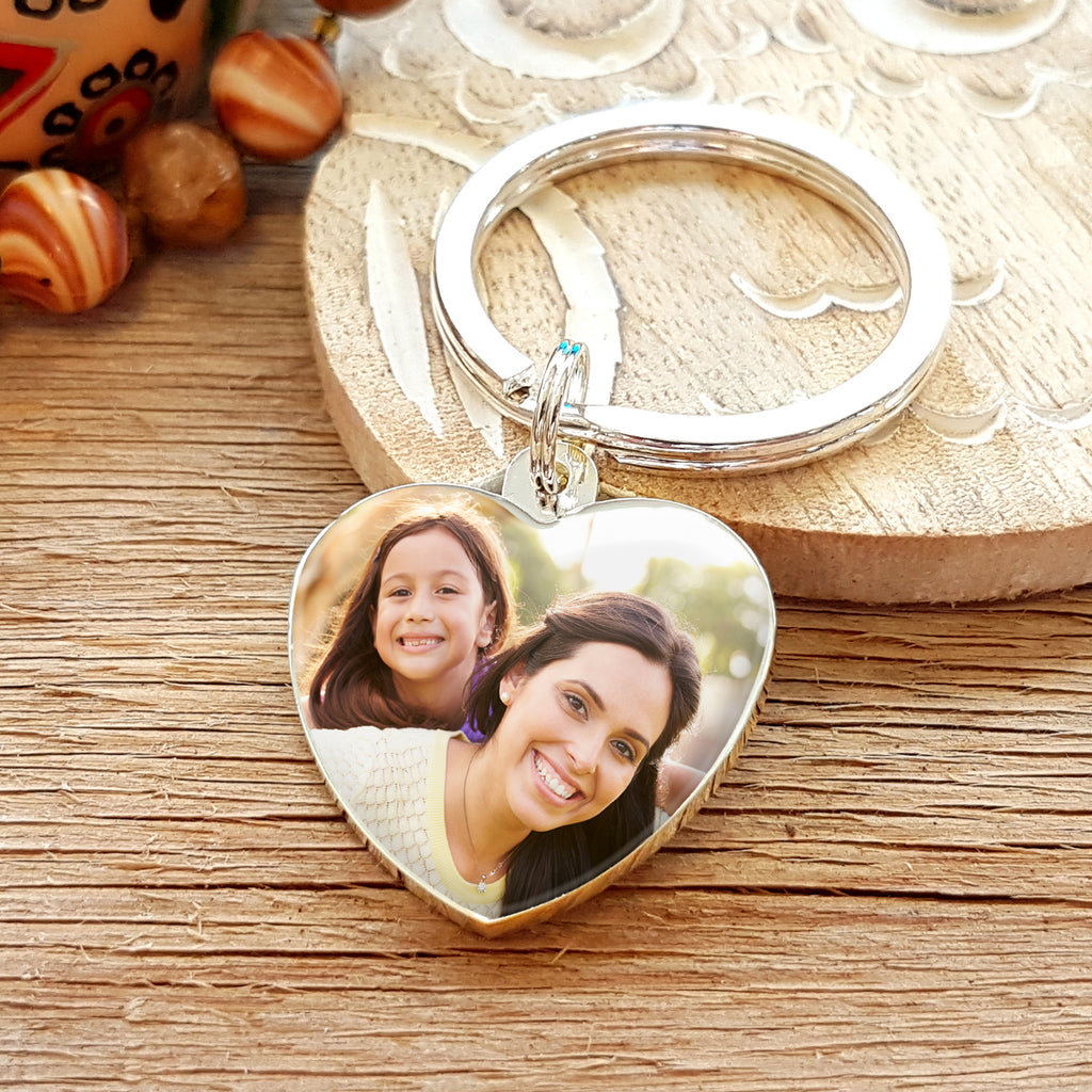 Mother's Day Gift Photo Upload Heart Shaped Keyring with Engraved Reverse