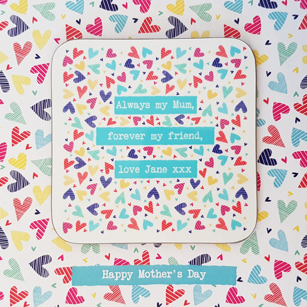 Your special message personalised greeting card coaster gift - close up detail