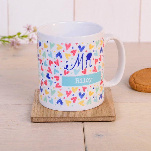 """Mr"" Confetti Hearts Personalised Mug"