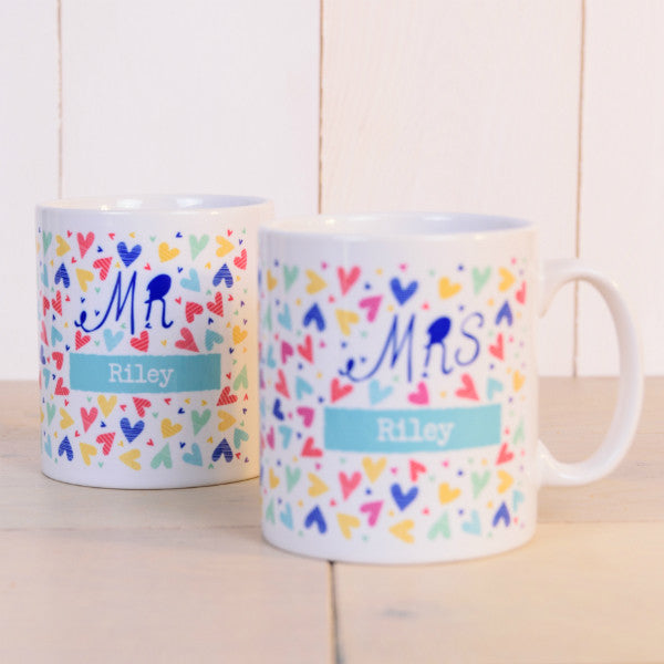"""Mr & Mrs"" Confetti Hearts Personalised Mugs"