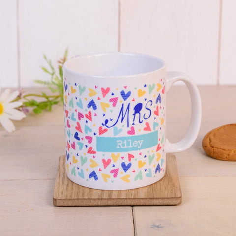 """Mrs"" Confetti Hearts Personalised Mug"