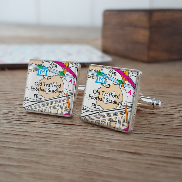 Football Stadium Personalised Map Cufflinks