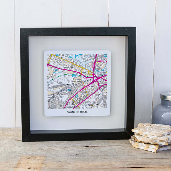 Football Stadium Map Box Frame Father's Day Gift for Football Fans - Full Colour style Black frame