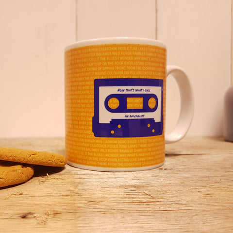 Mixtape / Playlist Cassette Personalised mug - Dark Blue on Orange