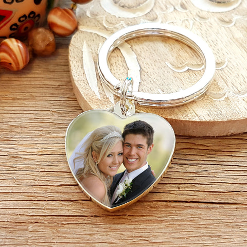 Photo Upload Heart Shaped Keyring photo - Gift for Bride