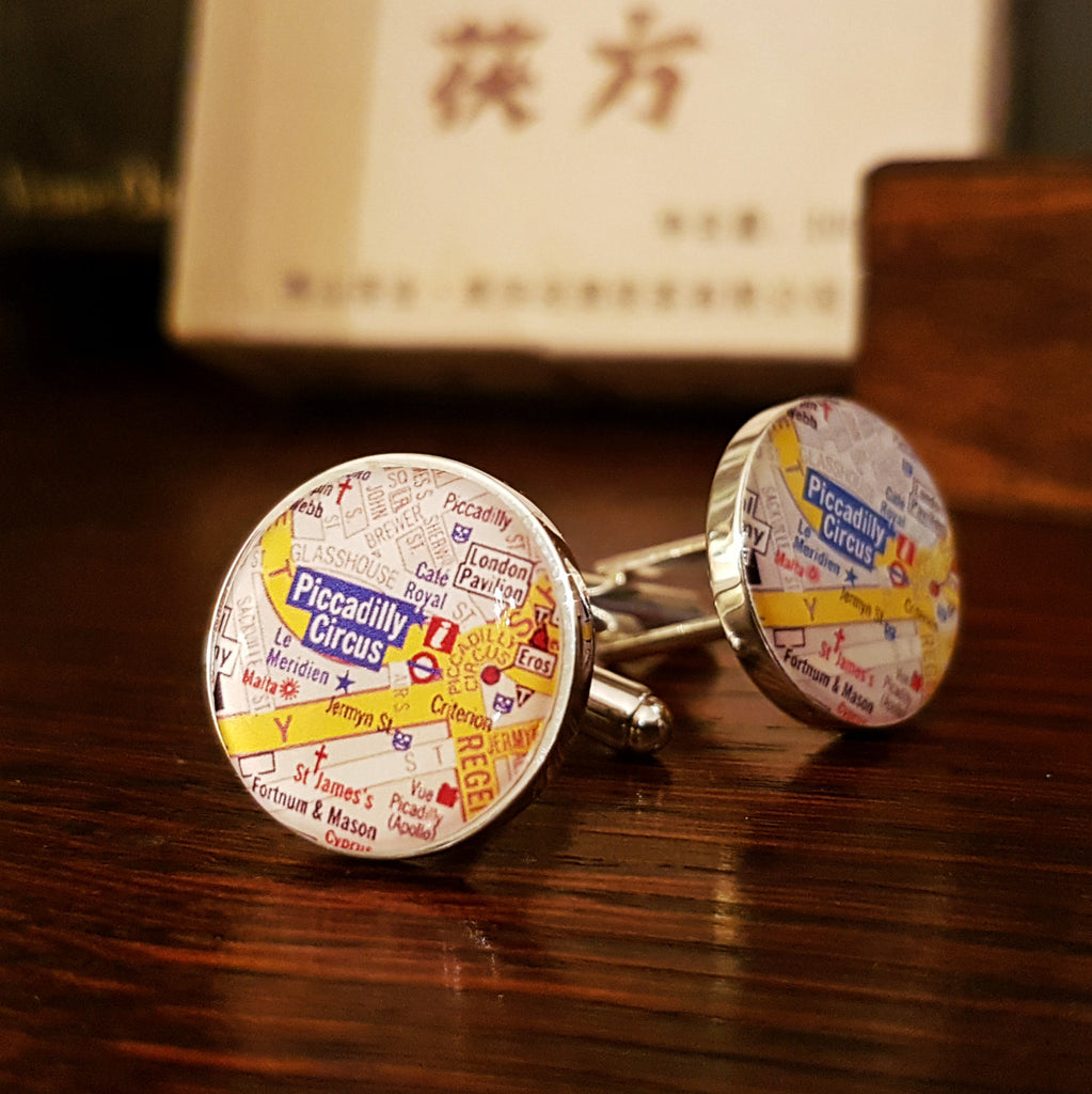 "Personalised ""Where We First Met"" Map Cufflinks"