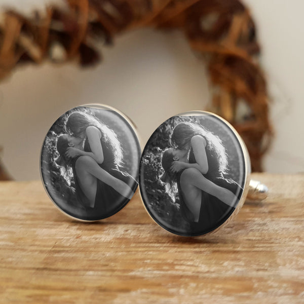 Photo Upload Cufflinks Gift for him. Round. Valentine's Day, Anniversary or Birthday Gift - black and white photo