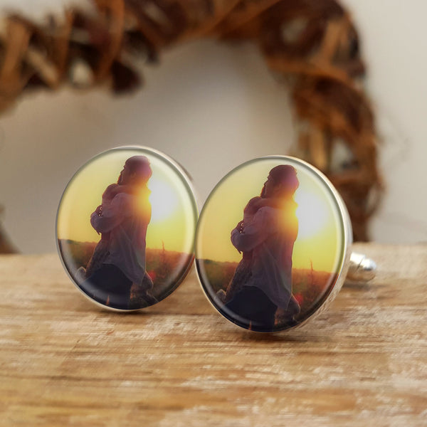 Photo Upload Cufflinks Gift for him. Round. Valentine's Day, Anniversary or Birthday Gift - colour photo