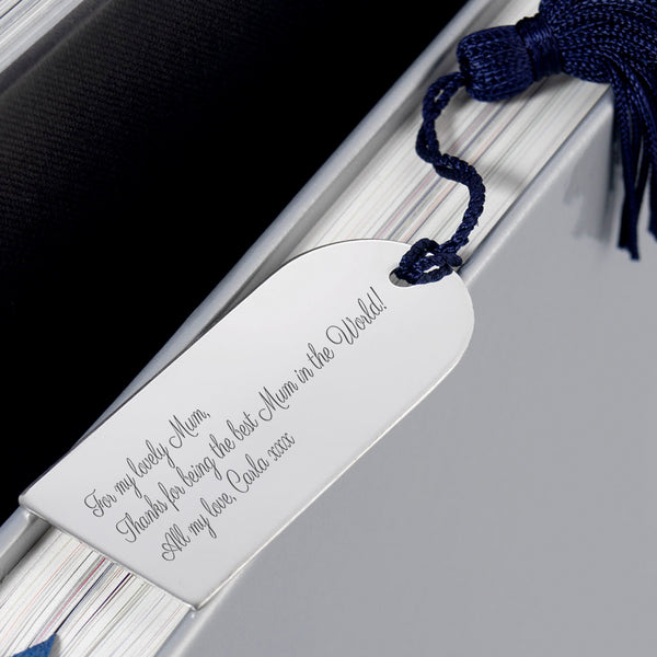 Engraved Silverplated Arch Bookmark Gift for Bookworms - Close Up 2