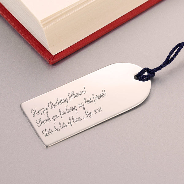 Engraved Silverplated Arch Bookmark Gift for Bookworms - Close Up