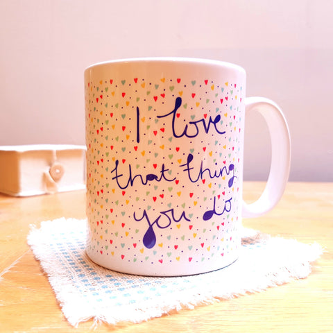 """That Thing You Do"" hearts pattern personalised gift mug - front"