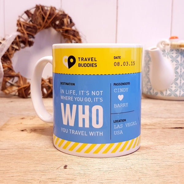 Travel Buddies Boarding Pass Mug - Blue & Yellow