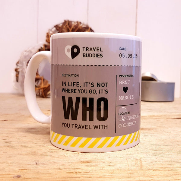 Travel Buddies Boarding Pass Mug - Grey