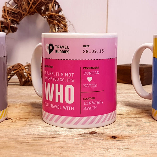 Travel Buddies Boarding Pass Mug - Pink