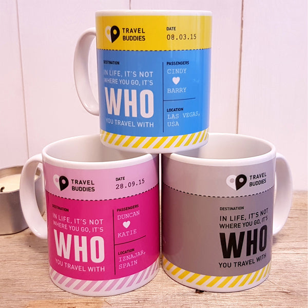 Travel Buddies Boarding Pass Mug - All colours