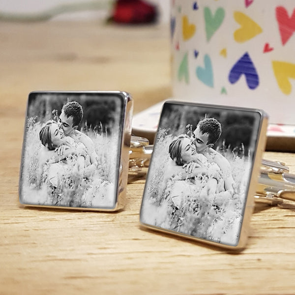 Photo Upload Cufflinks Gift for him. Valentine's Day, Anniversary or Birthday Gift - black and white