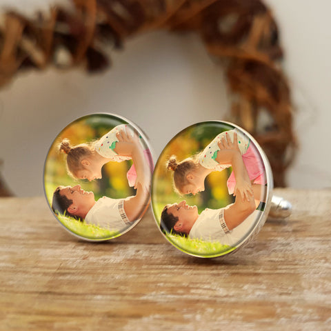 Photo Upload Cufflinks Father's Day Gift for him. Round. Colour Photo