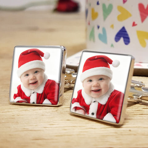 Upload photograph cufflinks gift for men - baby dressed as Santa design