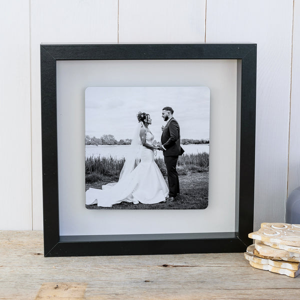 Photo Upload Box frame wall art wedding gift - black frame
