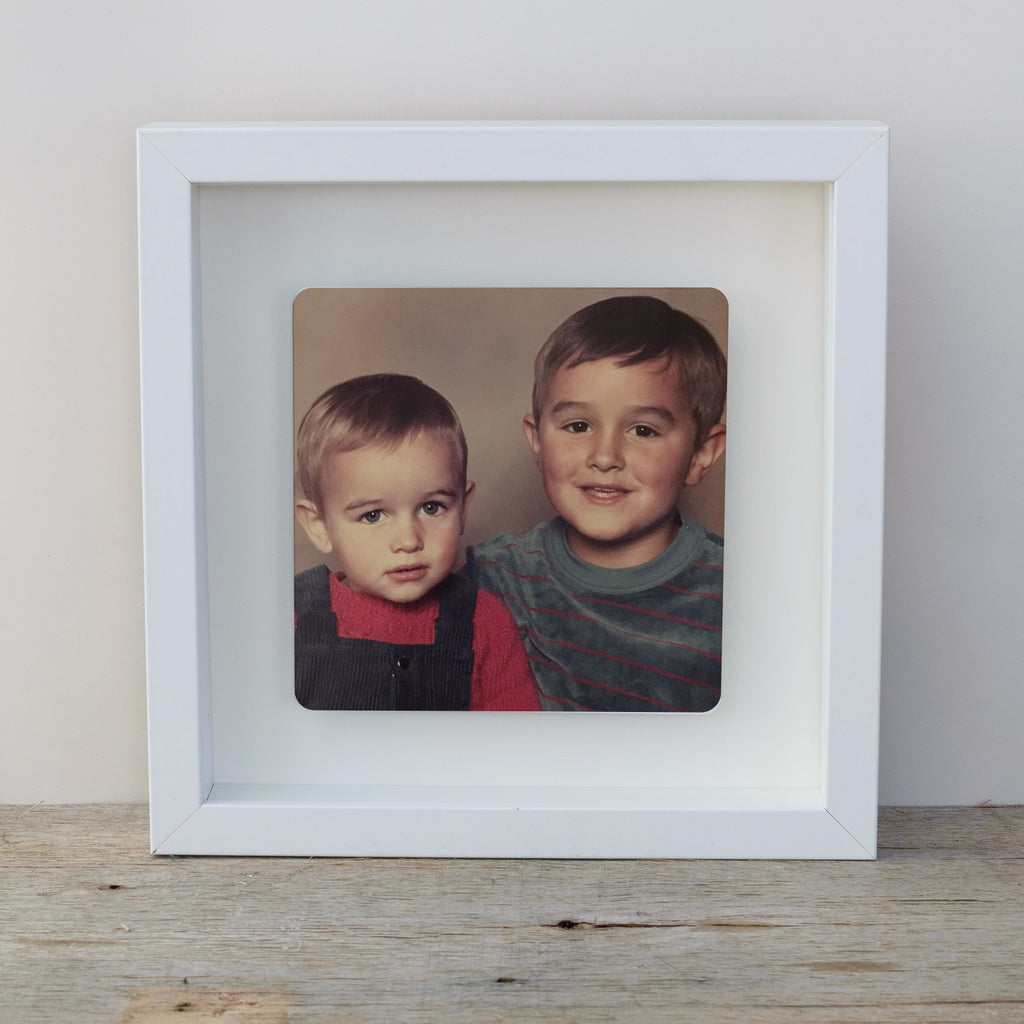 Photo Upload Box frame wall art gift - white frame colour photo