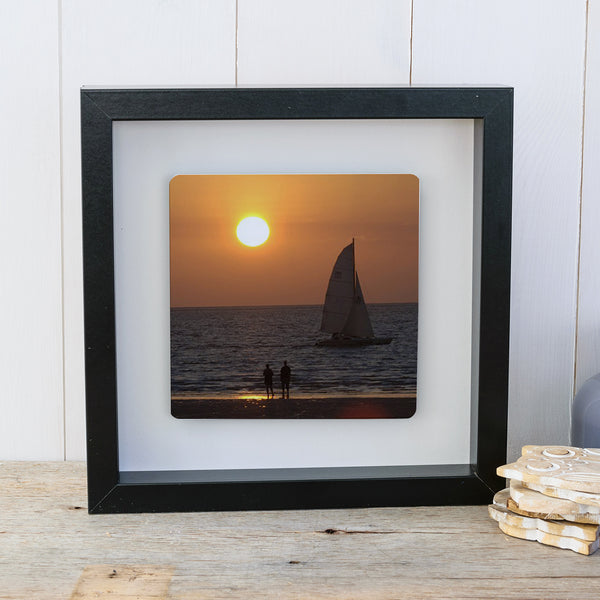 Photo Upload Box frame wall art gift - black frame landscape photo